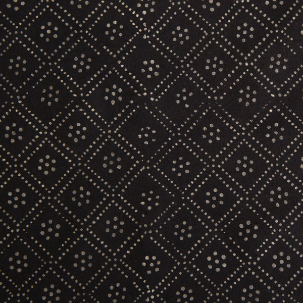 Organic Cotton fabric yardage Block Printed with Natural Dyes in black dots