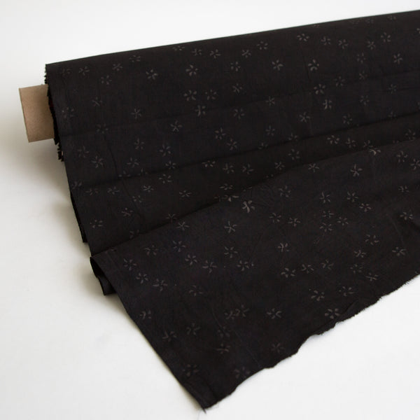 Organic Cotton fabric yardage Block Printed with Natural Dyes in black blossoms