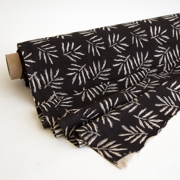 Organic Cotton fabric yardage Block Printed with Natural Dyes in black leaf