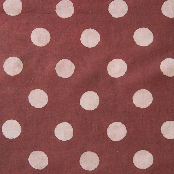 Organic Cotton fabric yardage Block Printed with Natural Dyes in burgundy and grey dots