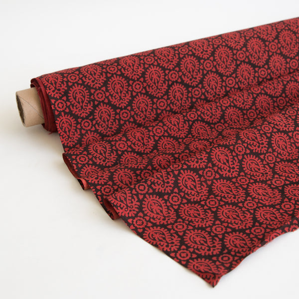 Organic Cotton fabric yardage Block Printed with Natural Dyes in red & black paisley