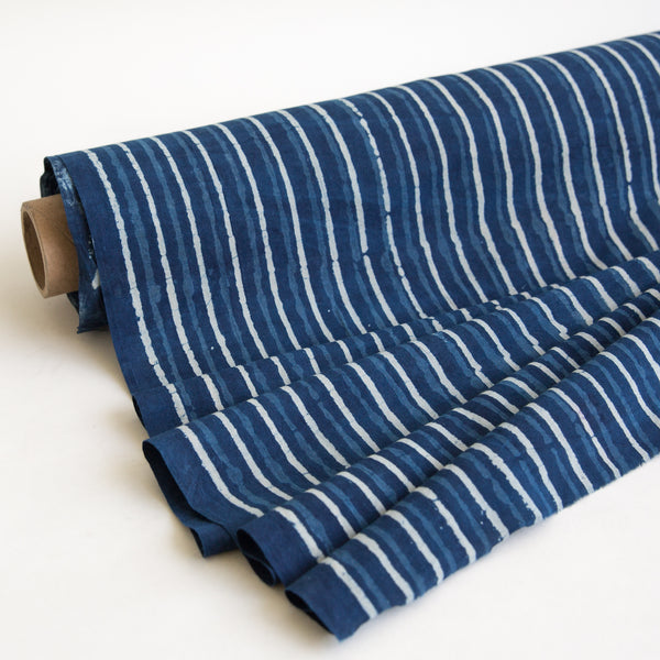 Organic Cotton Fabric Block Printed with Natural Indigo, 3 Tone Stripe