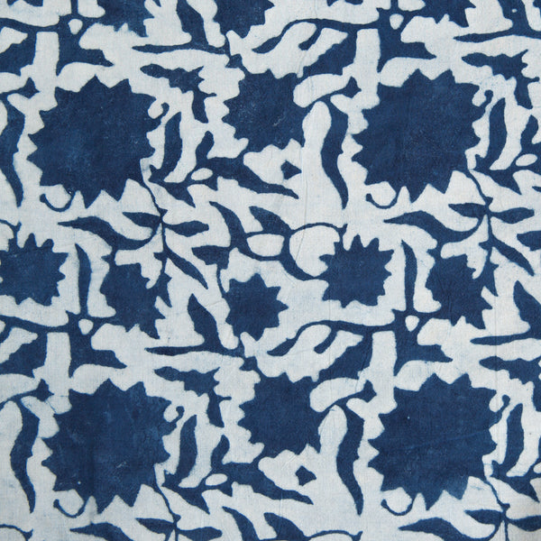 Organic Cotton Fabric Block Printed with Natural Indigo, sunflower