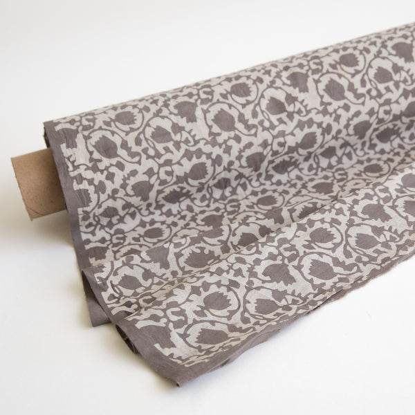 Organic Cotton fabric Block Printed with Natural Dyes grey floral