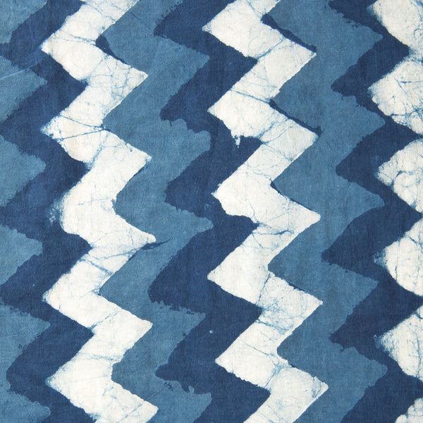 Organic Cotton Fabric Block Printed with Natural Indigo, 3 Tone zig zag