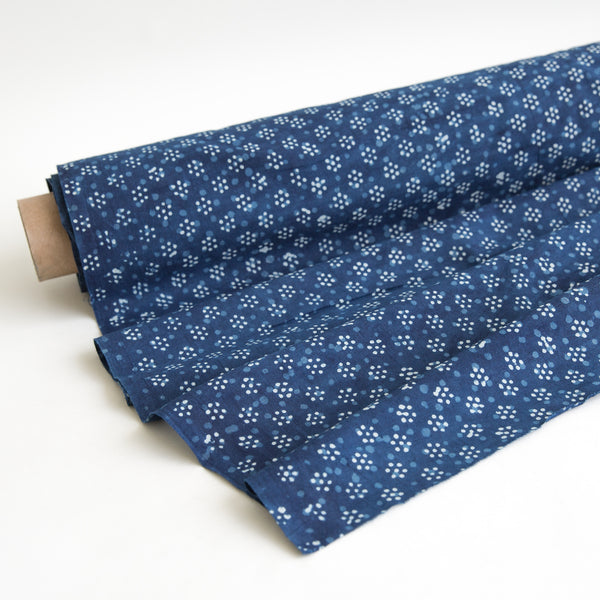 Organic Cotton Fabric Block Printed with Natural Indigo, Dabu dot flower