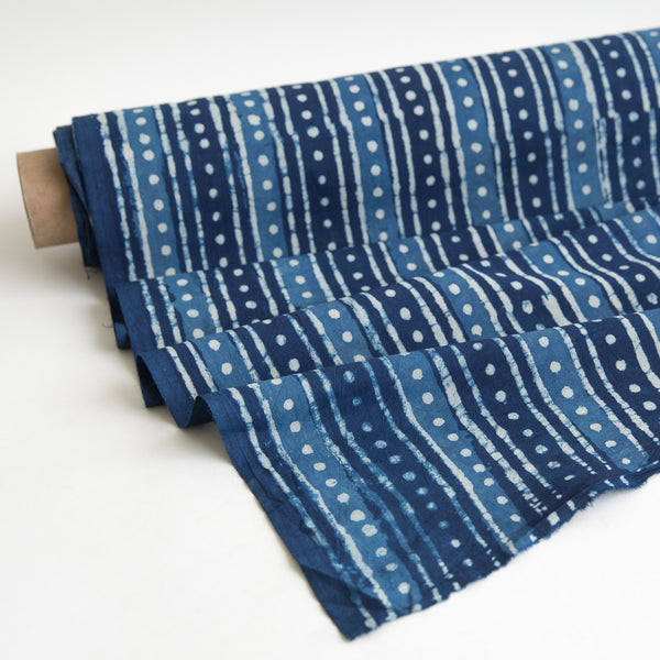 Organic Cotton Fabric Block Printed with Natural Indigo, dots & stripes yardage