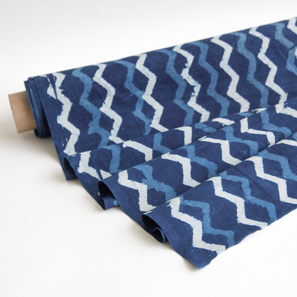 zig zag organic cotton yardage block printed with natural indigo fabric