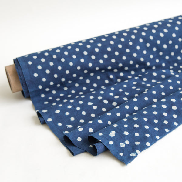 fabric dabu yardage on organic cotton block printed with natural indigo