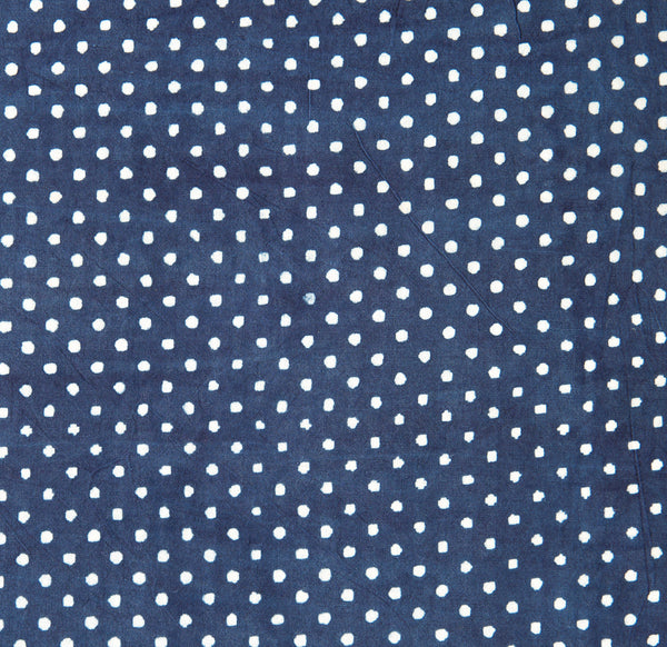 polka dot organic cotton yardage block printed with natural indigo fabric