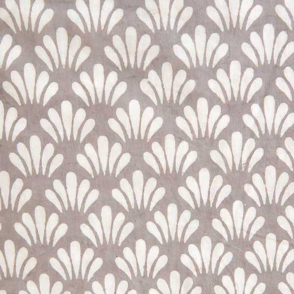 Fabric - Organic Cotton Block Printed with Natural Dyes grey motif