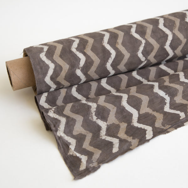 grey zig zag Organic Cotton Fabric yardage Block Printed with Natural Dyes grey motif