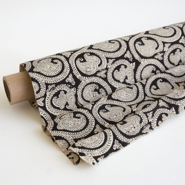 Organic Cotton Fabric yardage Block Printed with Natural Dyes black paisley