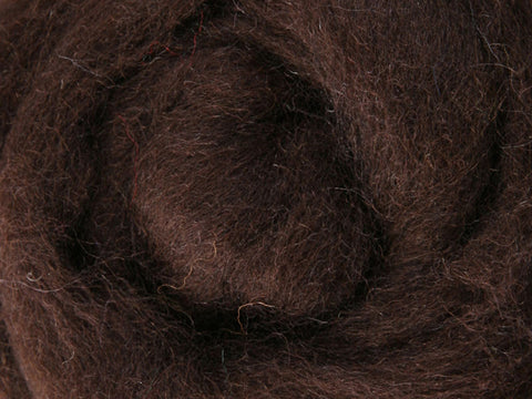 Wool Corriedale Roving - Chocolate 50g
