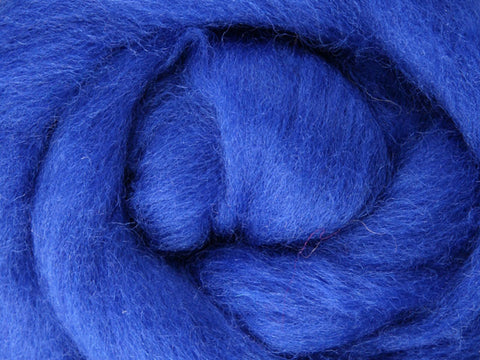 Wool Corriedale Roving - Blue 50g