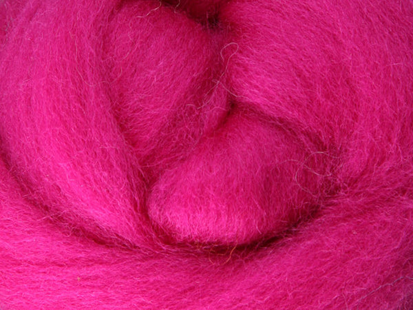 Wool Corriedale Roving - Magenta 50g