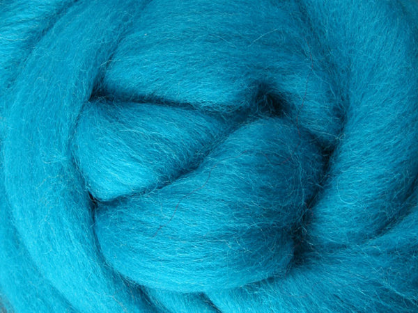 Wool Corriedale Roving - Turquoise 50g