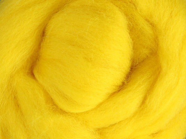 Wool Corriedale Roving - Yellow 50g