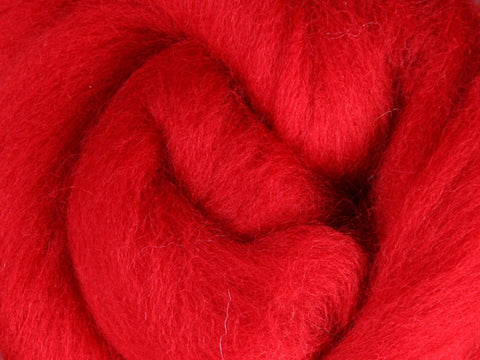 Wool Corriedale Roving - Scarlet 50g