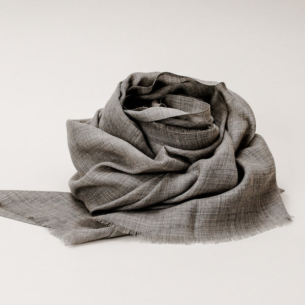 Scarf - Wool Merino Natural Grey