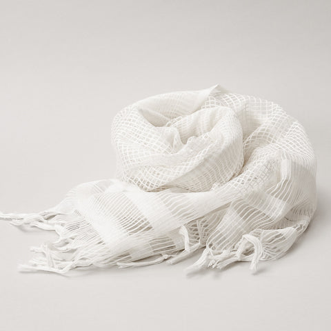 Scarf - Silk & Cotton Handwoven Thin Check Design