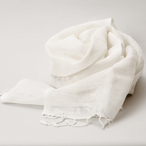 Scarf - Linen Handwoven White Stripes