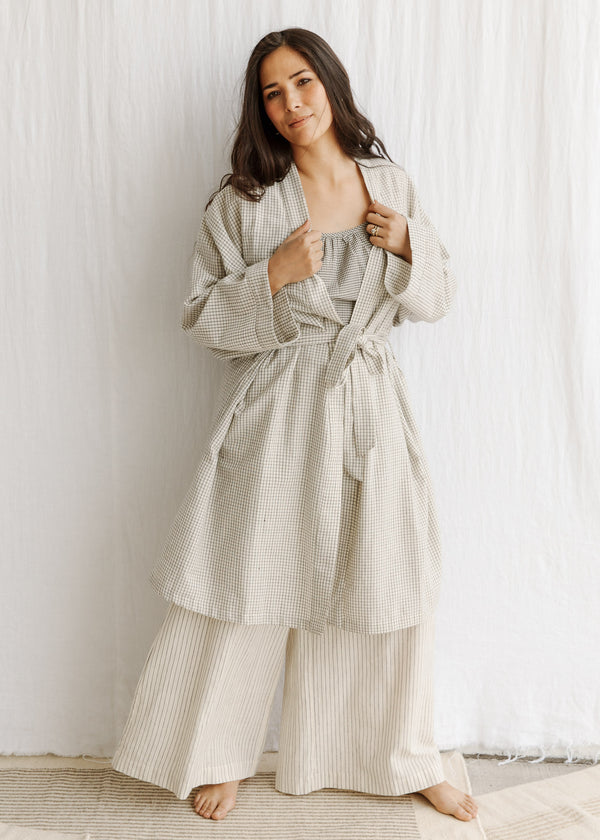 natural organic cotton naturally dyed handwoven robe sleepware loungeware ecofashion slowclothes Sustainable fashion sewn and designed by Maiwa Handprints