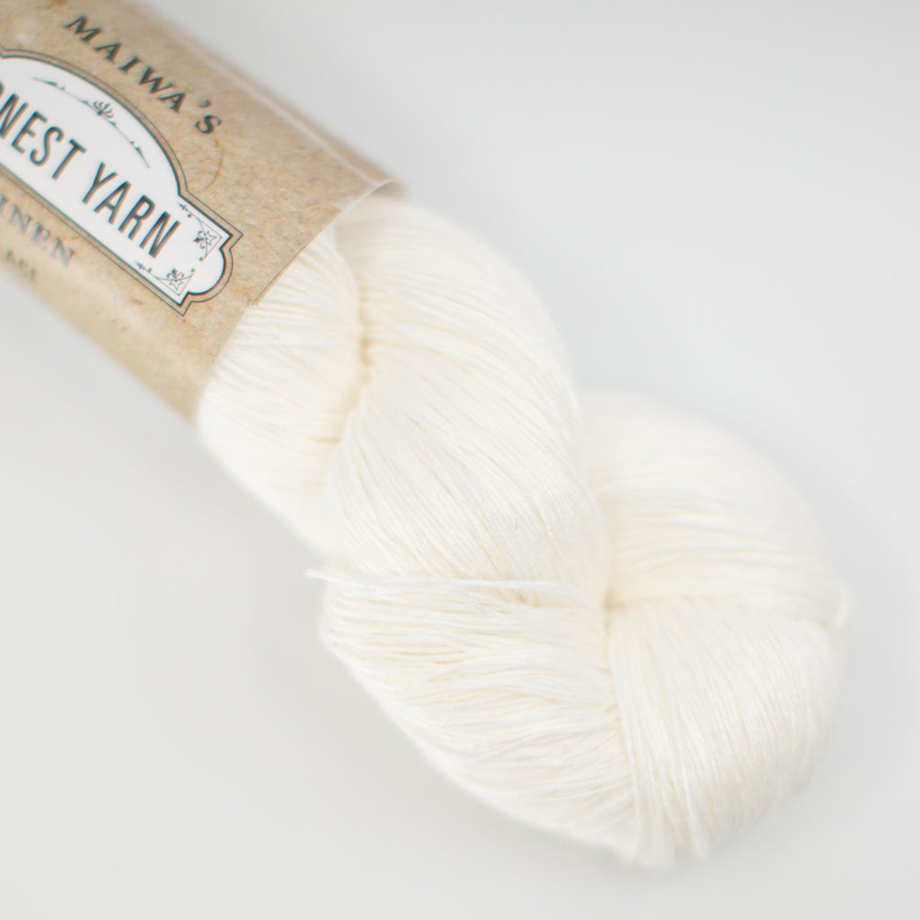 Maiwa Linen Honest Yarn lace weight, white undyed