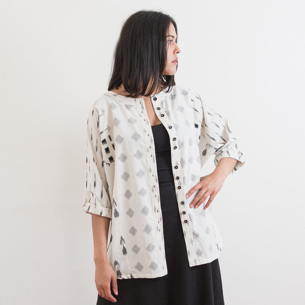 Rabari Shirt - White Floating Grid - Cotton