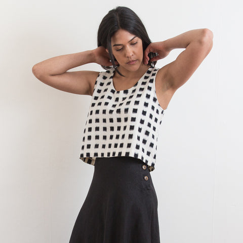 Ahiliya Tank - White Grid - Cotton