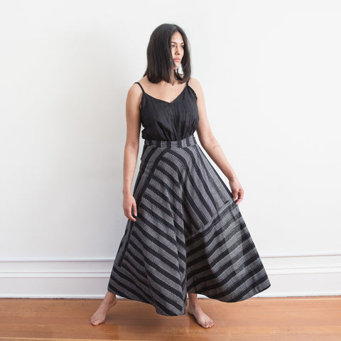 Cochin Wrap Skirt - Black Lines - Cotton