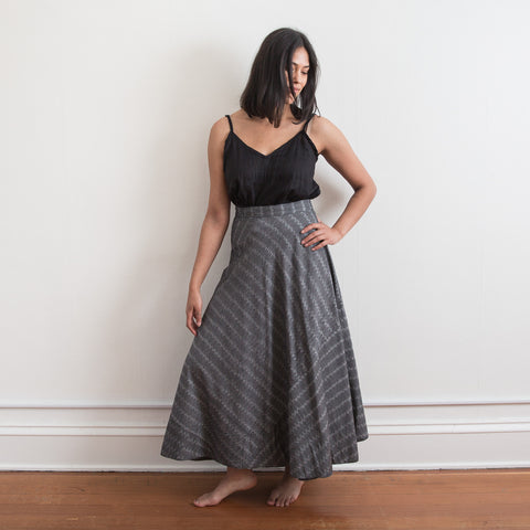 Cochin Wrap Skirt - Grey Broken Stripe - Cotton