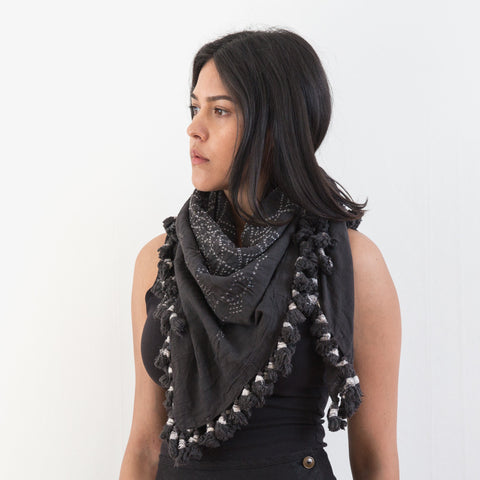 Bandhani Cotton Square Scarf - Smoke