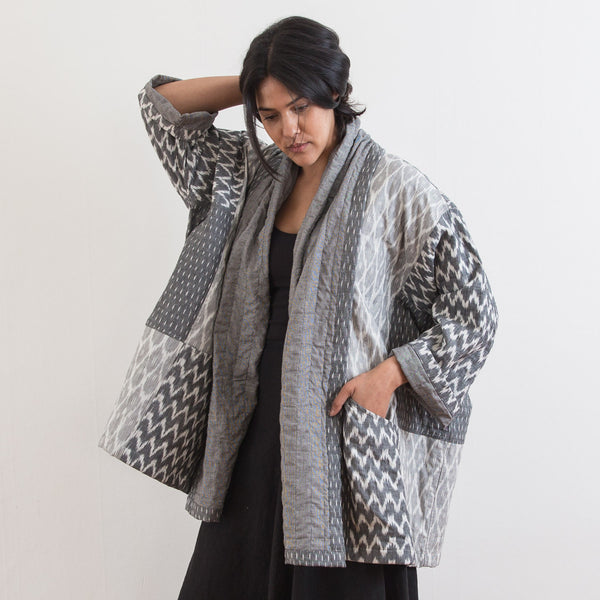 Ikat Kimono Coat - Heather Grey Zig Zag - Cotton