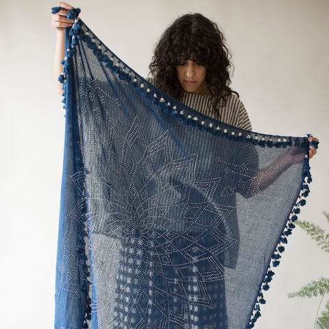 Bandhani Cotton Square Scarf - Indigo