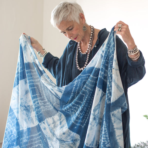 Organic Cotton Shibori Mull Shawl - Light Indigo Diamonds