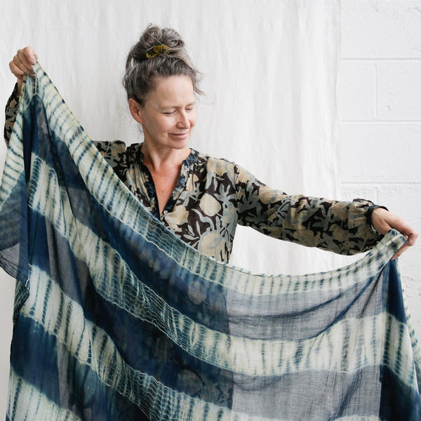 Organic Cotton Shibori Mull Shawl - Indigo on Pomegranate Shibori Stripe