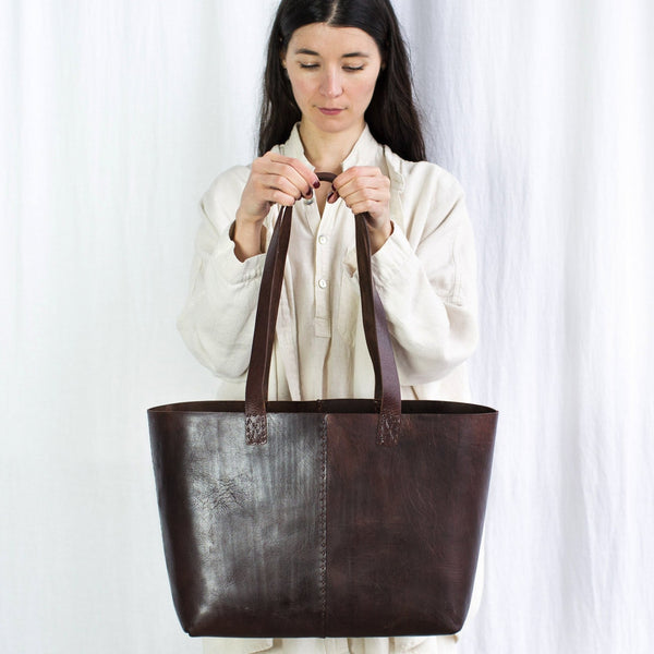 Leather Everyday Carrier Bag - Brown