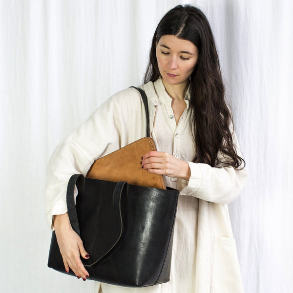 Leather Everyday Carrier Bag - Black