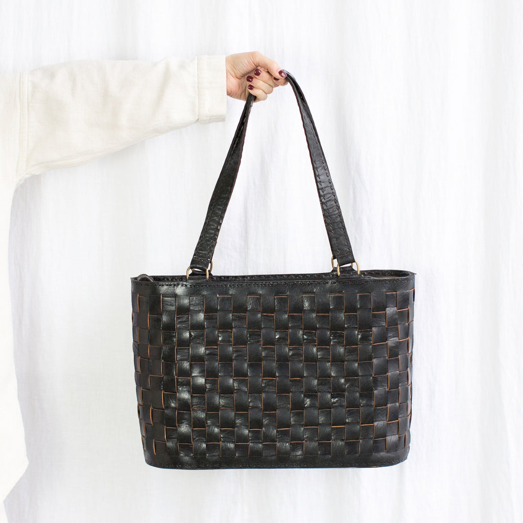 Leather Woven Tote Large with Zipper - Black