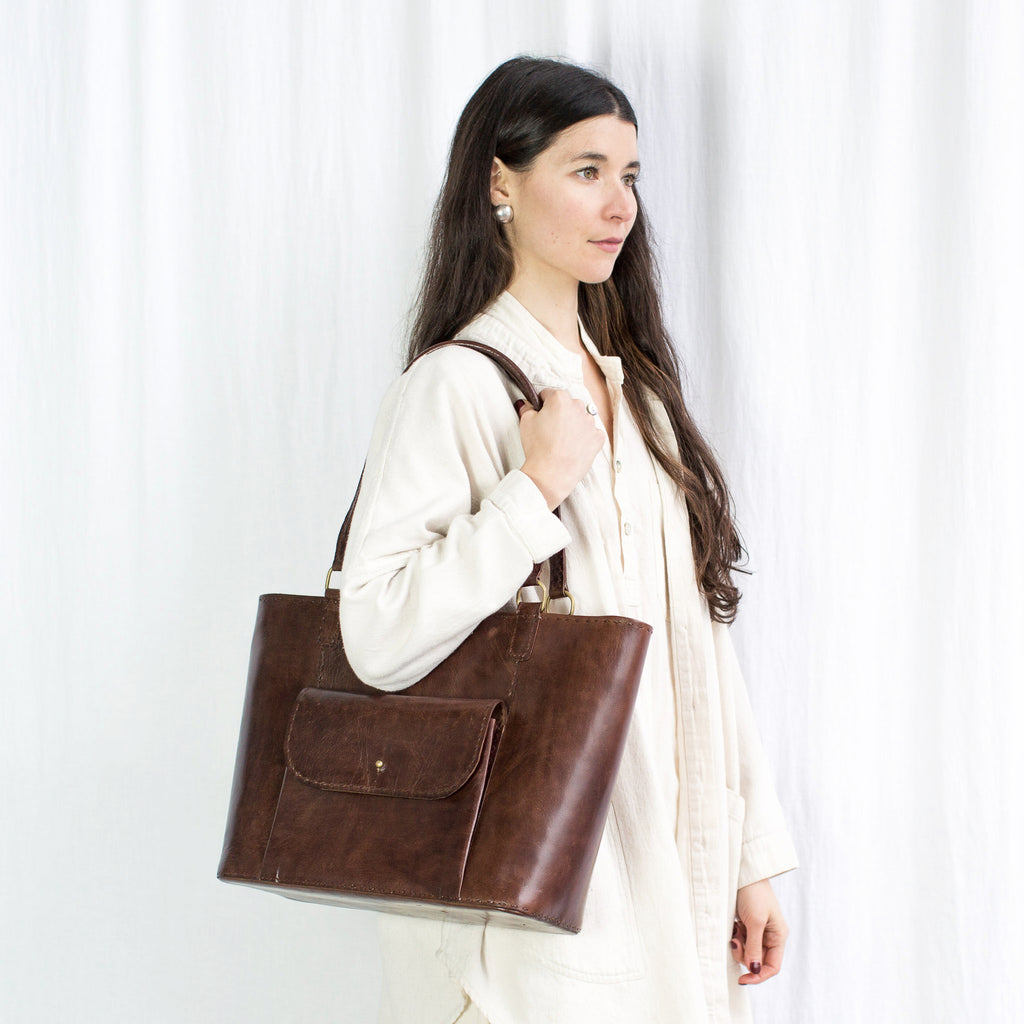 Leather Day Bag - Brown