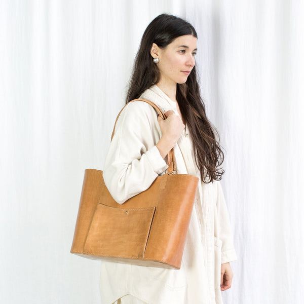 Leather Market Bag - Tan