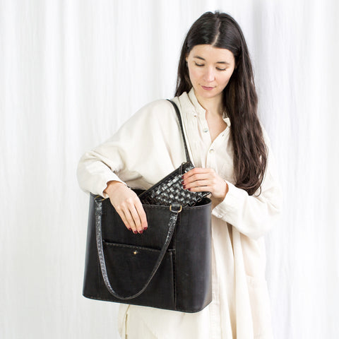 Leather Market Bag - Black