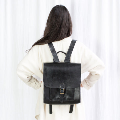 Leather Backpack with Pocket - Black