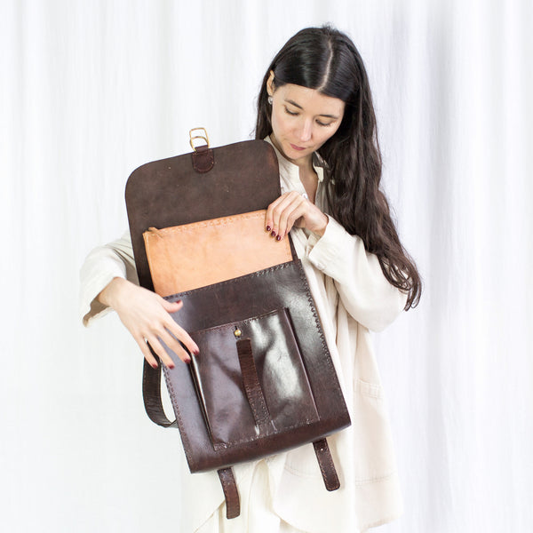 Leather Backpack with Pocket - Brown