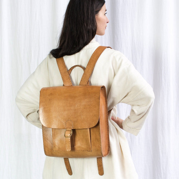 Leather Backpack with Pocket - Tan