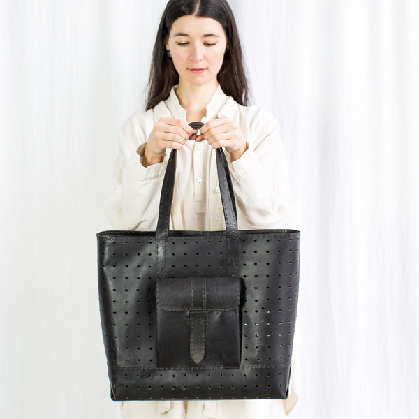 Leather Luminous Bag - Black