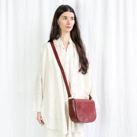 Leather Everyday Shoulder Bag - Red
