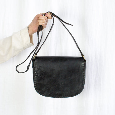 Leather Everyday Shoulder Bag - Black