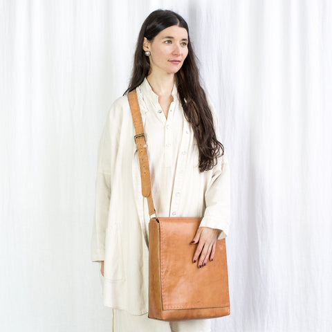 Leather Workday Bag Tall - Tan